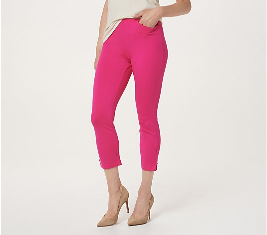 Belle by Kim Gravel Ponte Cropped Pants with Button Detail