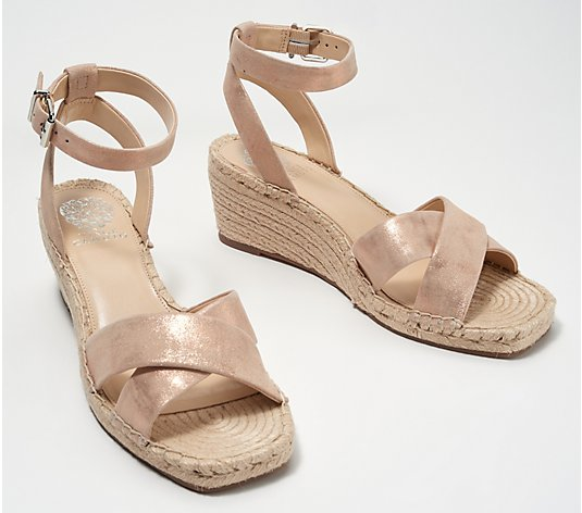 """As Is"" Vince Camtuo Leather Demi Wedge Espadrilles - Josen"
