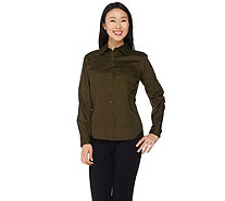Linea by Louis Dell'Olio Button Front Shirt with Pocket - A214116