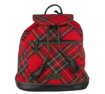 Dooney Bourke Tartan Plaid Backpack With Front Pocket