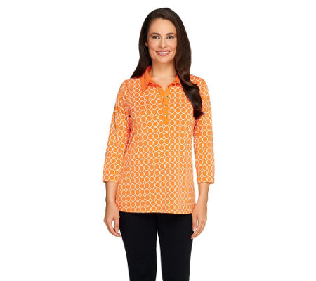 Susan Graver Liquid Knit Printed 3/4 Sleeve Henley Top