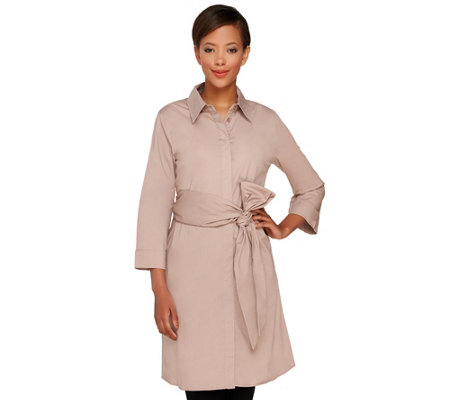 Dennis Basso Stretch Woven 3/4 Sleeve Tunic with Sash Belt
