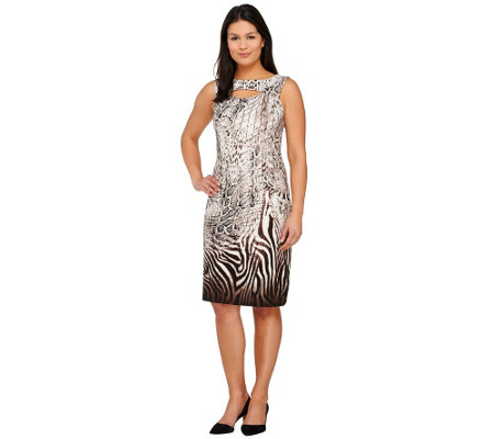 George Simonton Animal Print Milky Knit Dress with Keyhole Detail