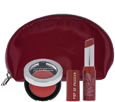 bareMinerals Pop of Passion Lip & Cheek Collection with Bag