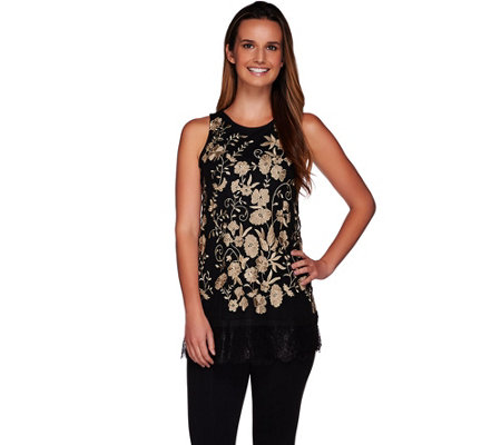 LOGO Lavish by Lori Goldstein Embroidered Mesh Tank with Lace Hem