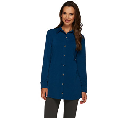 Susan Graver Passport Knit Long Sleeve Button Front Shirt