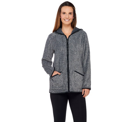 Denim & Co. Zip Front Plush Backed Fleece Jacket with Hood