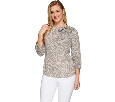 Liz Claiborne New York Printed Top with Neck Detail