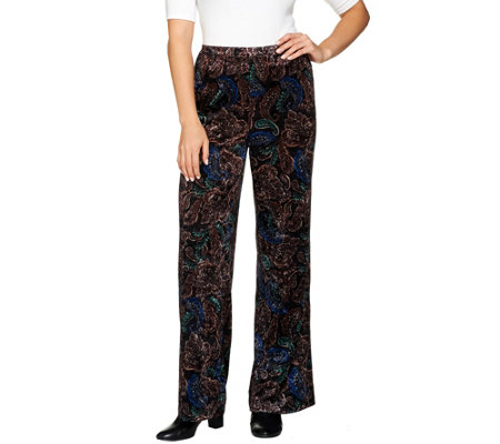 Joan Rivers Regular Length Pull-On Crushed Velvet Pants