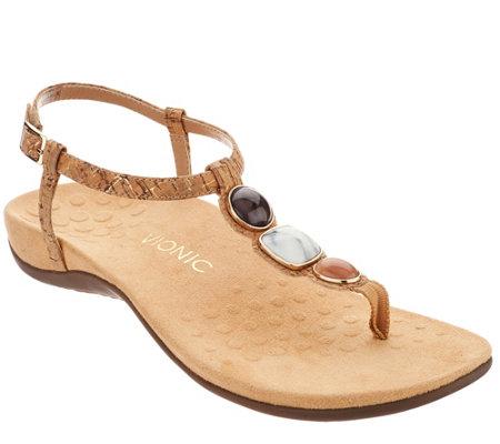 49089c7ae0c Vionic Orthotic Embellished T-Strap Sandals - Gwinn - Page 1 — QVC.com