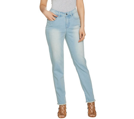 Women with Control Petite My Wonder Denim Frayed Ankle Jeans