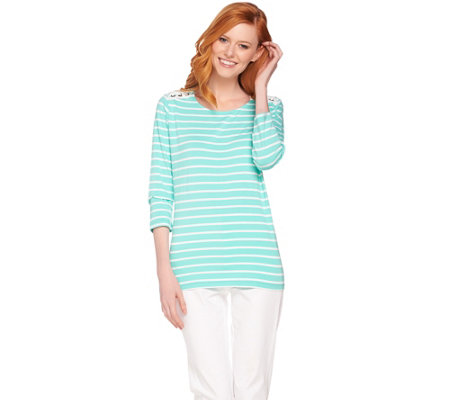 Susan Graver Weekend Striped Stretch Cotton Modal Top with Lacing