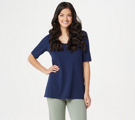 Belle by Kim Gravel TripleLuxe Elbow Sleeve Scoop Neck Top