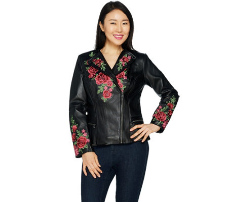 Isaac Mizrahi Live! Special Edition Floral Embroidered Leather Jacket