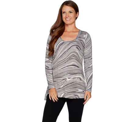 Isaac Mizrahi Live! SOHO Marble Print Scoop Neck Long Sleeve Top