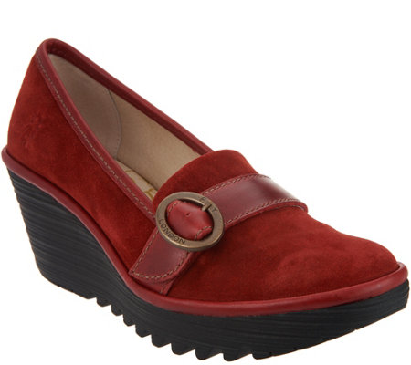 FLY London Suede Wedge Loafers - Yond