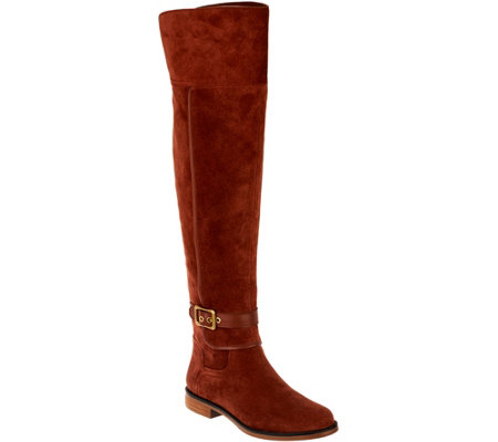 Franco Sarto Wide Calf Suede Over-the-Knee Boots - Crimson
