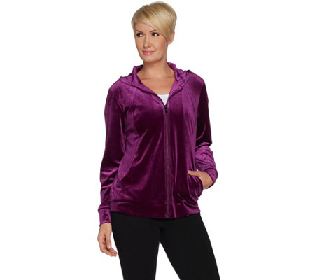 96238165930821 Belle by Kim Gravel Zip Front Velvet Hoodie. Back to video. Discover More