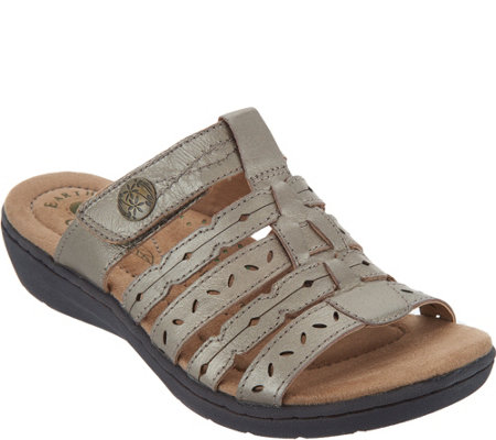 Earth Origins Leather Multi-Strap Slide Sandals - Alaina