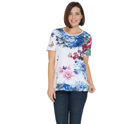 Quacker Factory Botanical Burst Sparkle Short Sleeve Knit T-shirt