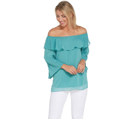 Linea by Louis Dell'Olio Convertible Shoulder Peasant Top