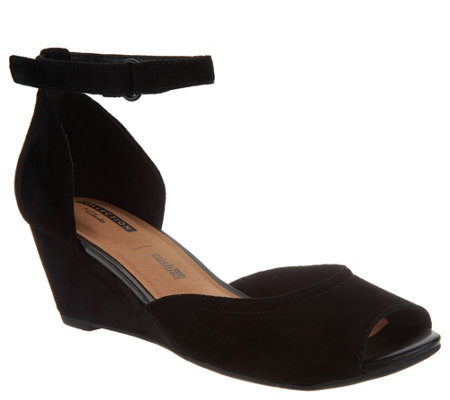 """As Is"" Clarks Leather Ankle Wrap Wedge Sandals- Flores Raye"