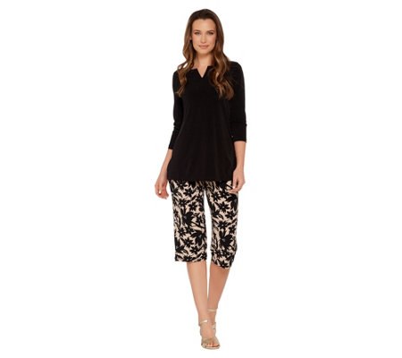 """As Is"" Susan Graver Liquid Knit Tunic and Printed Pants Set"