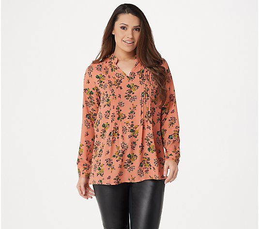 Joan Rivers Floral Print V-Neck Pleated Blouse