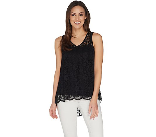 """As Is"" Attitudes by Renee Sleeveless Lace Top"