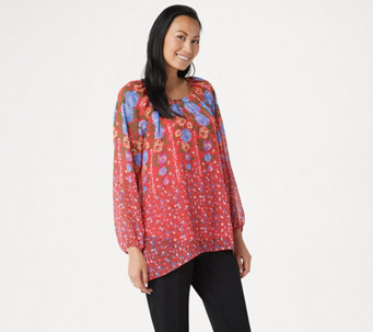 41aa111bb48 Susan Graver Printed Crinkle Chiffon Peasant Tunic with Knit Tank - A351016