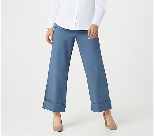 Martha Stewart Petite Chino Wide-Leg Cuffed Pants