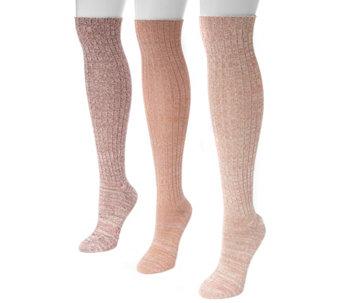 Muk Luks Womens Three Pair Pack Marl Knee Highsocks A