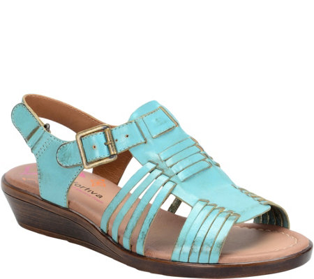 Comfortiva Leather Wedge Sandals - Freeport
