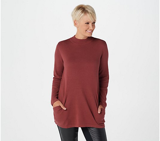 Joan Rivers Mock Neck Sweater with Scoop Pockets