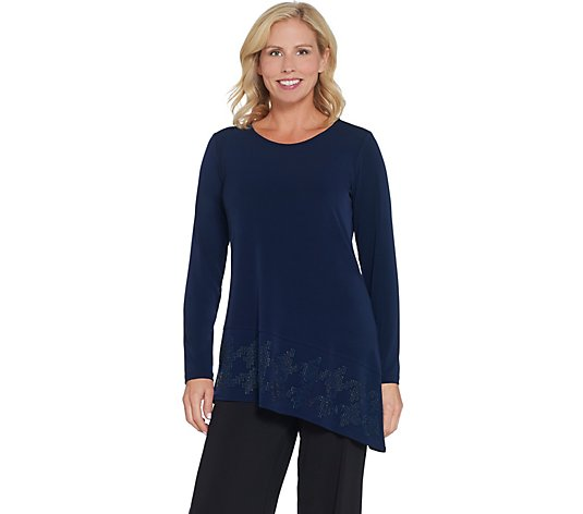 """As Is"" Susan Graver Artisan Liquid Knit Tunic with Asymmetric Hem"