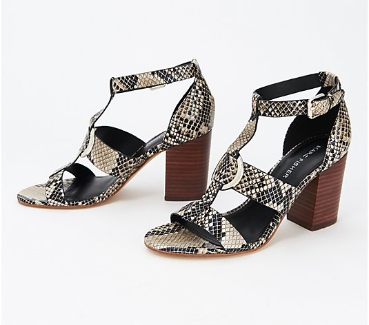 Marc Fisher Snake Print Heeled Sandals - Walinda