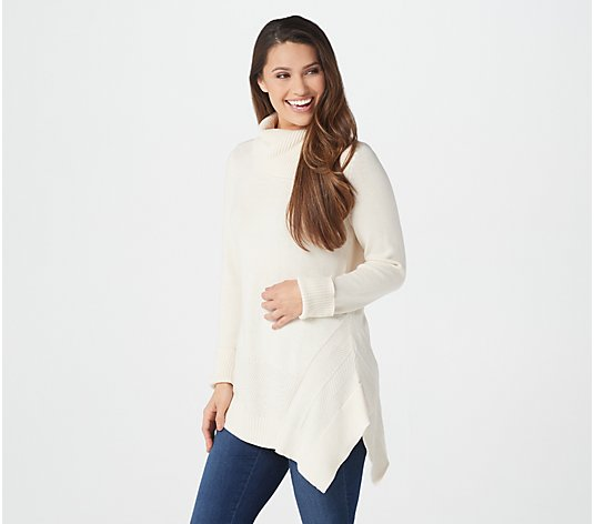 H by Halston Turtleneck Asymmetrical Tunic Sweater