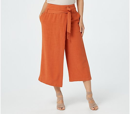 Du Jour Linen Blend Cropped Pants with Wrap Overlay