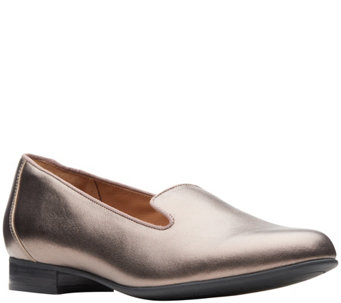 bccc77a9bf7 Clarks Unstructured Leather Slip-On Flats - UnBlush Step - A415516