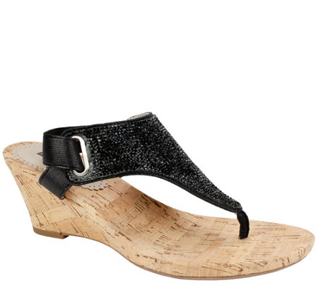 White Mountain Cork Wedge Thong Sandals - Allegheny
