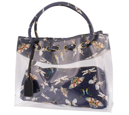 L'Artiste by Spring Leather Tote w/ Clutch -Butterflies