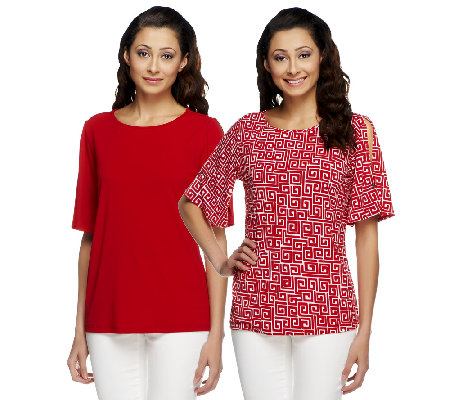 Susan Graver Set Of 2 Liquid Knit Tops With Split Sleeves Page 1