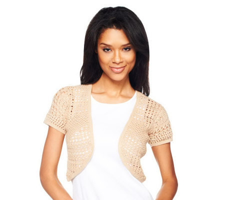 Liz Claiborne New York Hand Crochet Short Sleeve Shrug