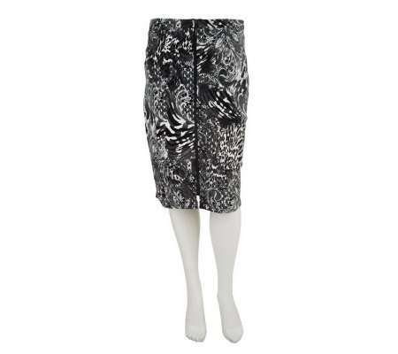 George Simonton Printed Ponte Knit Skirt w/ Zipper Detail