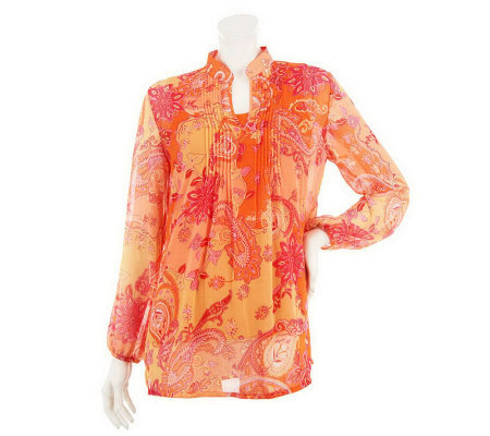 """As Is"" Susan Graver Crinkled Chiffon Paisley Print Tunic w/ Tank"