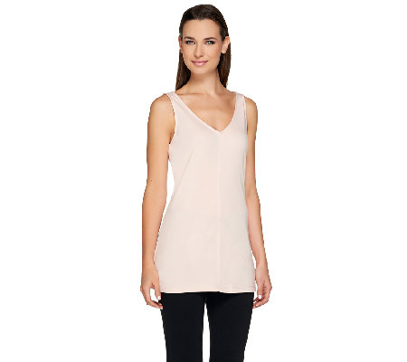 G.I.L.I. Jersey Knit Sleeveless Tunic with Double V-Neck
