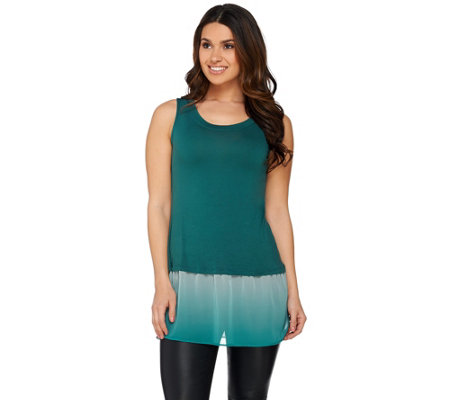 LOGO by Lori Goldstein Knit Tank with Ombre Chiffon Trim