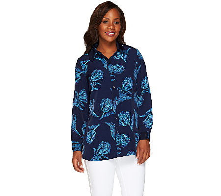 Susan Graver Printed Peachskin Button Front Shirt