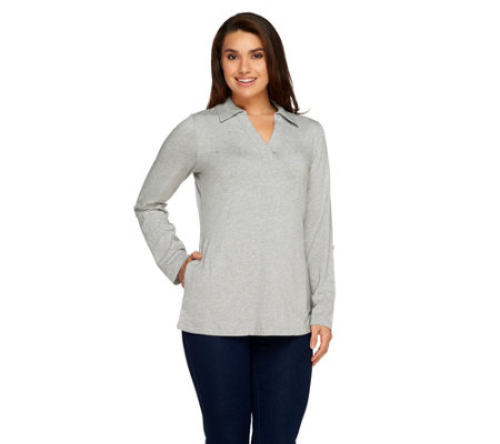 """As Is"" Denim & Co. Active Petite Roll-Tab Sleeve Knit Tunic"