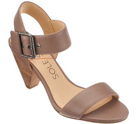 Sole Society Leather Ankle Strap Block Heel Sandals - Missy